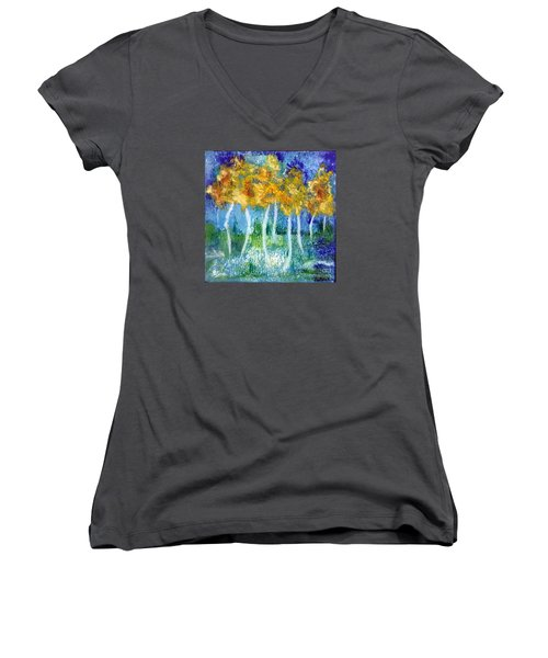 Fantasy Glade Women's V-Neck T-Shirt (Junior Cut) by Elizabeth Fontaine-Barr