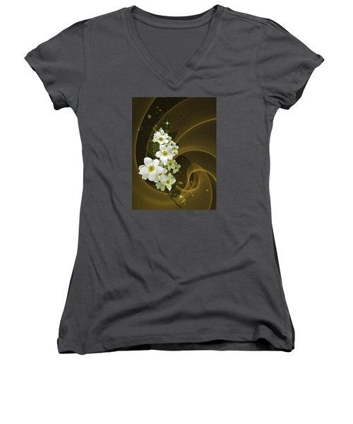 Women's V-Neck T-Shirt (Junior Cut) featuring the photograph Fantasy In Gold And White by Judy  Johnson