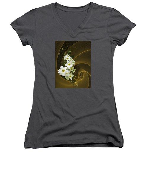 Fantasy In Gold And White Women's V-Neck T-Shirt