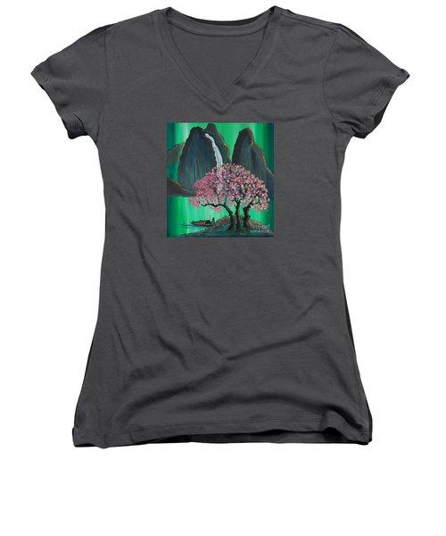 Fantasy Japan Women's V-Neck T-Shirt (Junior Cut) by Jacqueline Athmann