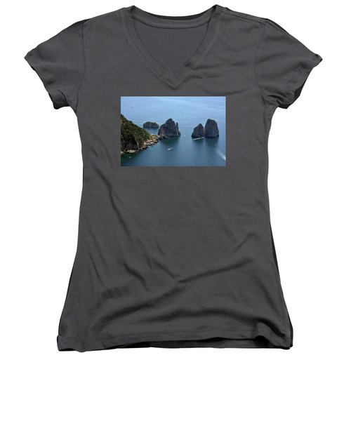 Faraglioni A Capri  Women's V-Neck T-Shirt