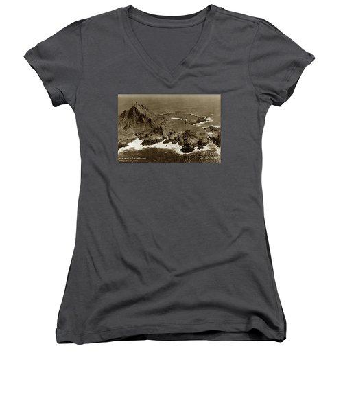 Farallon Island Lighthouse Pacific Ocean April 4, 1924 Women's V-Neck