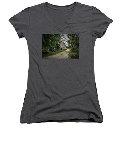 Women's V-Neck T-Shirt (Junior Cut) featuring the photograph Farm Drive by Ray Congrove