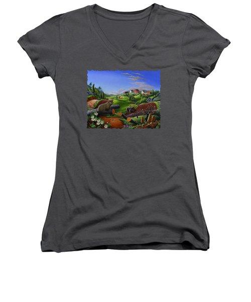 Farm Folk Art - Groundhog Spring Appalachia Landscape - Rural Country Americana - Woodchuck Women's V-Neck T-Shirt (Junior Cut) by Walt Curlee