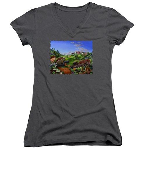 Farm Folk Art - Groundhog Spring Appalachia Landscape - Rural Country Americana - Woodchuck Women's V-Neck (Athletic Fit)