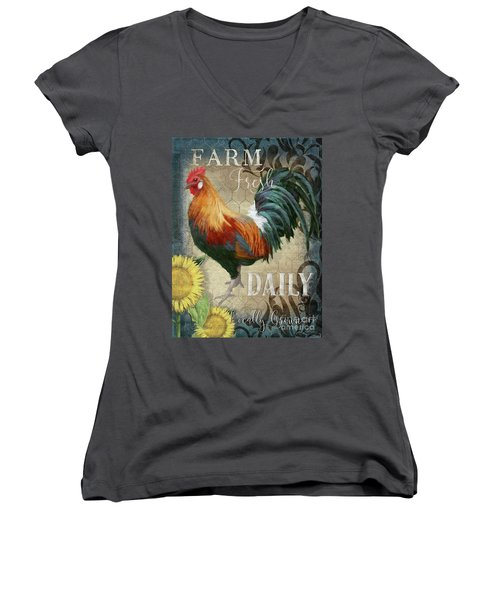 Women's V-Neck T-Shirt featuring the painting Farm Fresh Daily Red Rooster Sunflower Farmhouse Chic by Audrey Jeanne Roberts