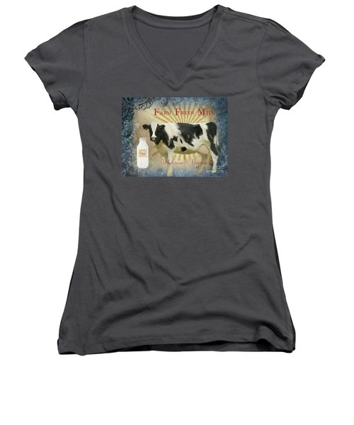 Women's V-Neck T-Shirt featuring the painting Farm Fresh Milk Vintage Style Typography Country Chic by Audrey Jeanne Roberts