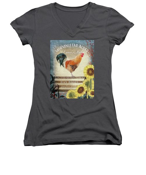 Women's V-Neck T-Shirt featuring the painting Farm Fresh Morning Rooster Sunflowers Farmhouse Country Chic by Audrey Jeanne Roberts
