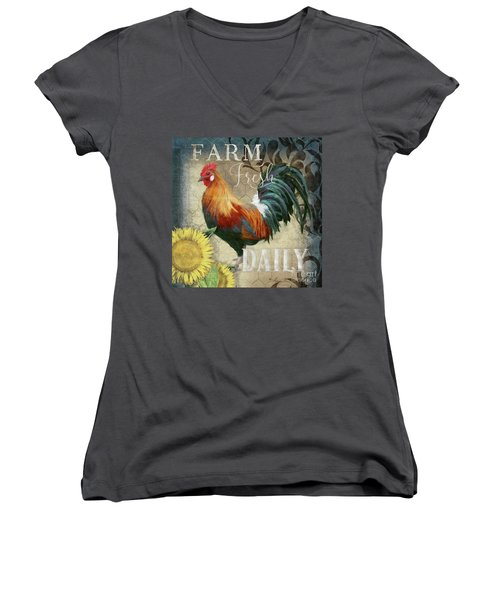 Women's V-Neck T-Shirt featuring the painting Farm Fresh Red Rooster Sunflower Rustic Country by Audrey Jeanne Roberts