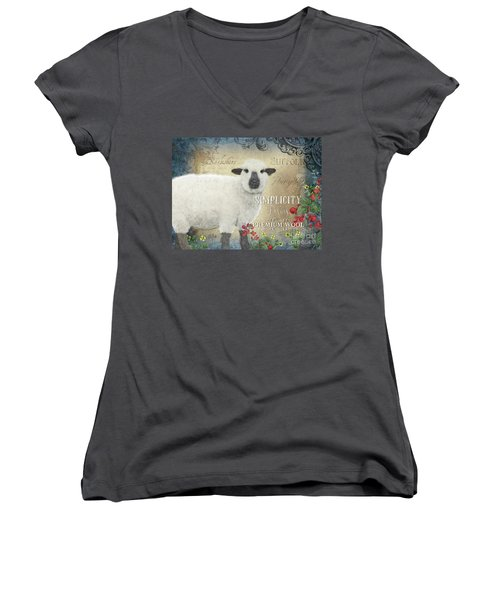 Women's V-Neck T-Shirt featuring the painting Farm Fresh Sheep Lamb Wool Farmhouse Chic  by Audrey Jeanne Roberts