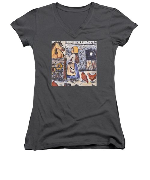 Farm Girl Women's V-Neck T-Shirt (Junior Cut) by Megan Walsh