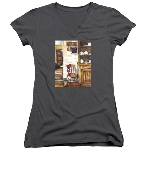 Women's V-Neck T-Shirt (Junior Cut) featuring the painting Farm House by Darren Cannell
