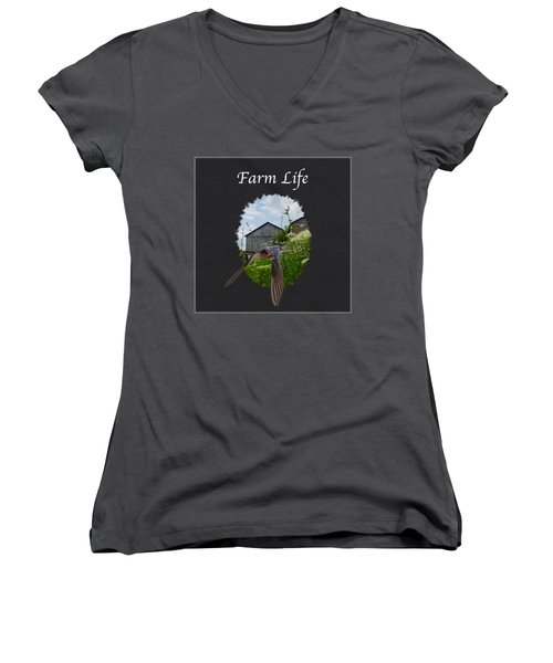 Farm Life Women's V-Neck T-Shirt (Junior Cut) by Jan M Holden