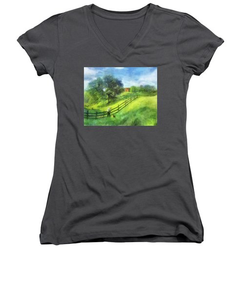 Farm On The Hill Women's V-Neck (Athletic Fit)