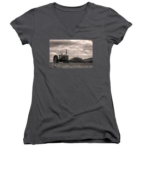 Farmall Women's V-Neck T-Shirt (Junior Cut) by Michael Friedman