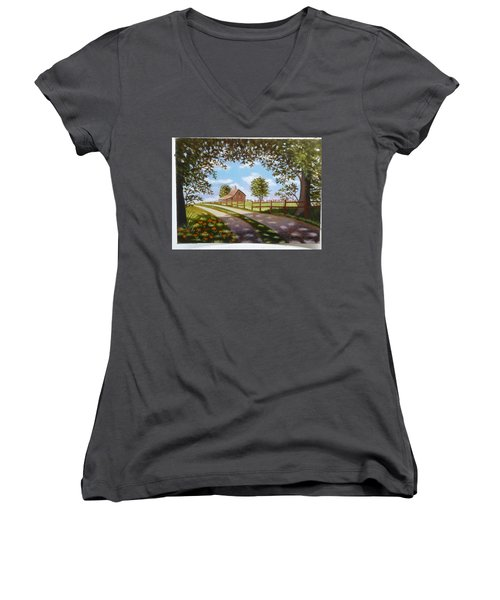 Farmhouse Framed By Trees Women's V-Neck (Athletic Fit)