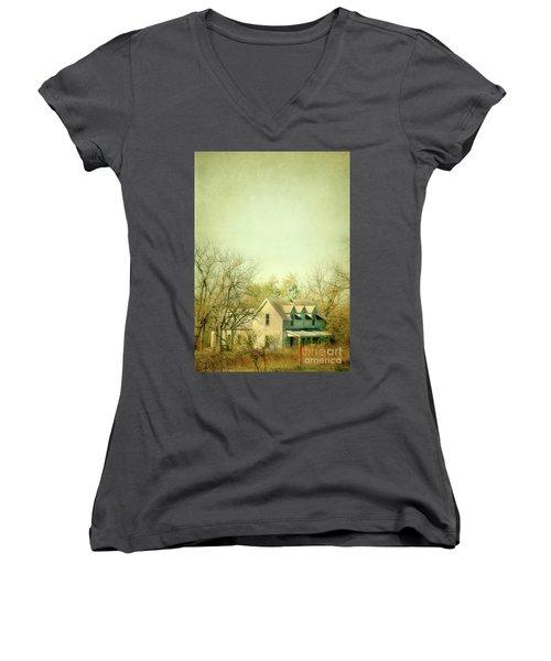 Farmhouse In Arkansas Women's V-Neck T-Shirt (Junior Cut) by Jill Battaglia