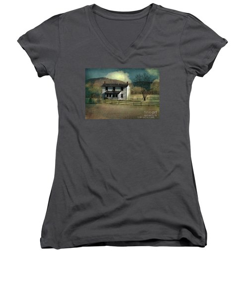 Farmhouse Women's V-Neck T-Shirt (Junior Cut) by Kathy Russell