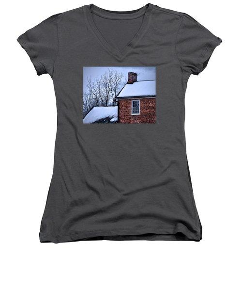 Women's V-Neck T-Shirt (Junior Cut) featuring the photograph Farmhouse Window by Robert Geary