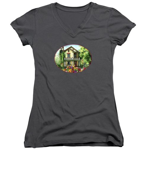 Farmhouse With Spring Tulips Women's V-Neck T-Shirt (Junior Cut) by Shelley Wallace Ylst