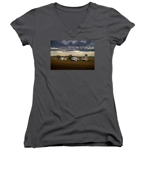 Farmstead Under Clouds Women's V-Neck (Athletic Fit)