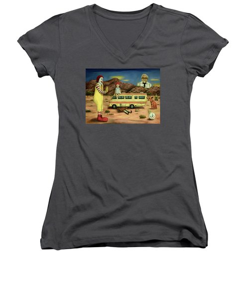 Women's V-Neck T-Shirt (Junior Cut) featuring the painting Fast Food Nightmare 5 The Mirage by Leah Saulnier The Painting Maniac