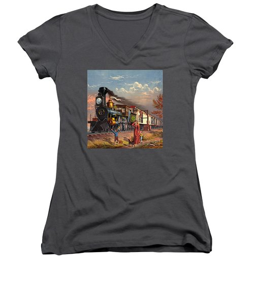 Fast Mail 1875 Women's V-Neck T-Shirt (Junior Cut) by Padre Art