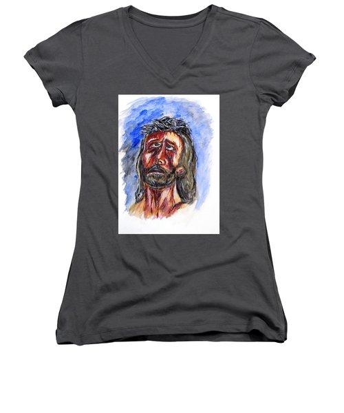 Father Forgive Them Women's V-Neck T-Shirt (Junior Cut)