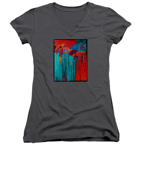 Women's V-Neck T-Shirt (Junior Cut) featuring the painting Waterfall by Nancy Jolley