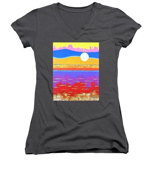 Fauvist Sunset Women's V-Neck T-Shirt (Junior Cut) by Jeremy Aiyadurai