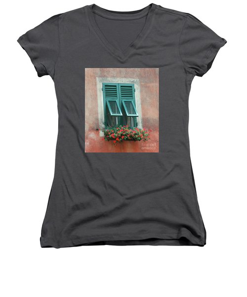 Faux  Painting Window  Women's V-Neck