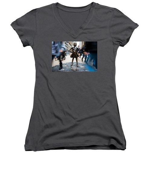 Fearless Girl Women's V-Neck T-Shirt