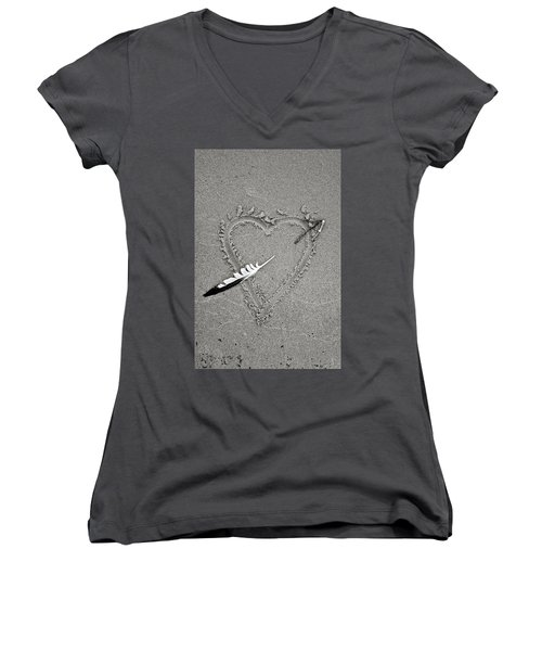 Feather Arrow Through Heart In The Sand Women's V-Neck