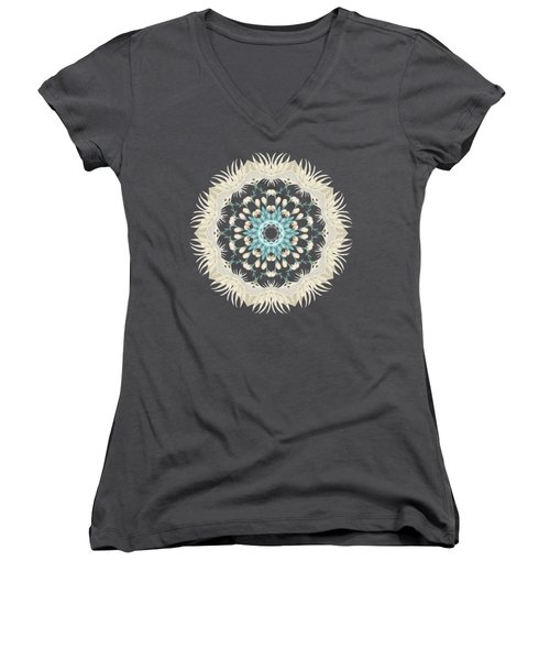 Feathers And Catkins Kaleidoscope Design Women's V-Neck (Athletic Fit)