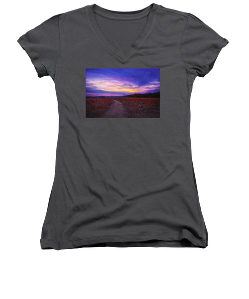 February Sunset And Path At Retzer Nature Center Women's V-Neck T-Shirt (Junior Cut) by Jennifer Rondinelli Reilly - Fine Art Photography