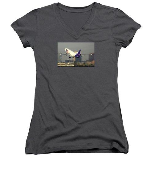 Fedex Express Mcdonnell-douglas Md-11f N631fe Phoenix Sky Harbor December 20 2015  Women's V-Neck T-Shirt (Junior Cut) by Brian Lockett