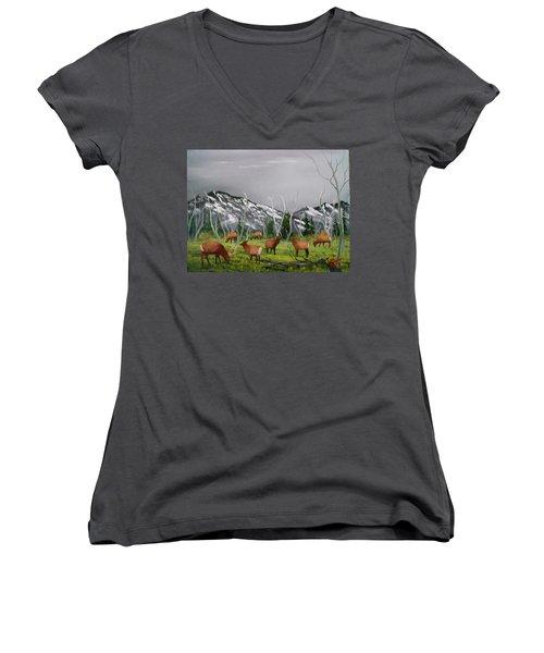 Feeding Elk Women's V-Neck T-Shirt (Junior Cut) by Al Johannessen