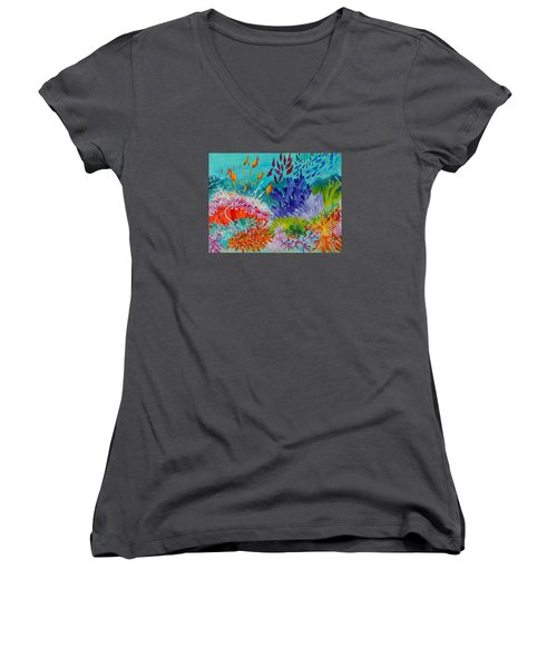 Women's V-Neck T-Shirt (Junior Cut) featuring the painting Feeding Time On The Reef #2 by Lyn Olsen