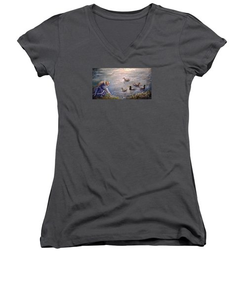 Feeding Time Women's V-Neck T-Shirt (Junior Cut)