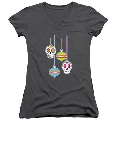 Women's V-Neck T-Shirt (Junior Cut) featuring the digital art Feliz Navidad Holiday Sugar Skulls by Tammy Wetzel