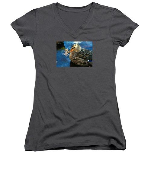 Female Mallard Duck In The Fox River Women's V-Neck T-Shirt