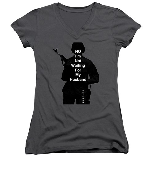 Women's V-Neck T-Shirt (Junior Cut) featuring the photograph Female Veteran by Melany Sarafis