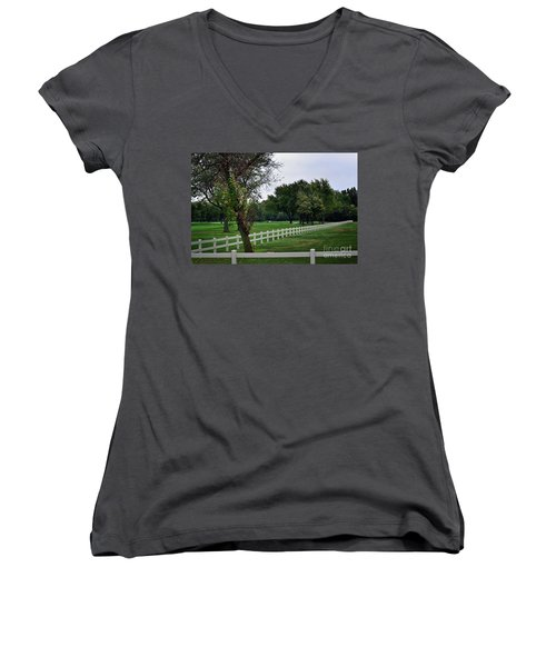 Fence On The Wooded Green Women's V-Neck