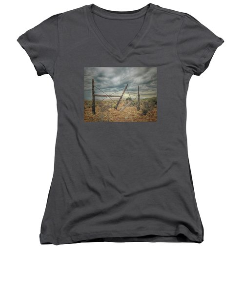Fence Post Blues  Women's V-Neck (Athletic Fit)