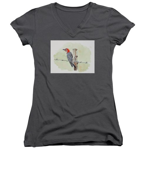 Fence Sitting Women's V-Neck (Athletic Fit)