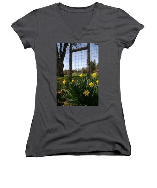Women's V-Neck T-Shirt (Junior Cut) featuring the photograph Fence With A View by Marie Neder