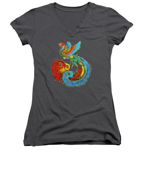 Fenghuang Chinese Phoenix Women's V-Neck T-Shirt (Junior Cut) by Rebecca Wang