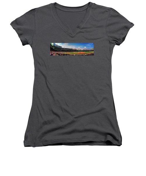 Fenway Park Panoramic - Boston Women's V-Neck T-Shirt
