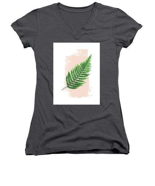 Fern Leaf On Pink Women's V-Neck