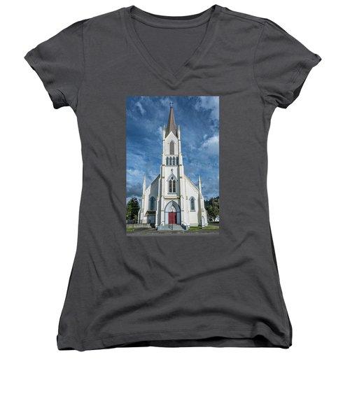 Ferndale Catholic Church Women's V-Neck T-Shirt (Junior Cut) by Greg Nyquist